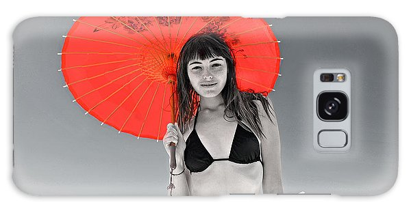 Beautiful Freckle Faced Model  At The Beach Altered Version Galaxy Case by Jim Fitzpatrick