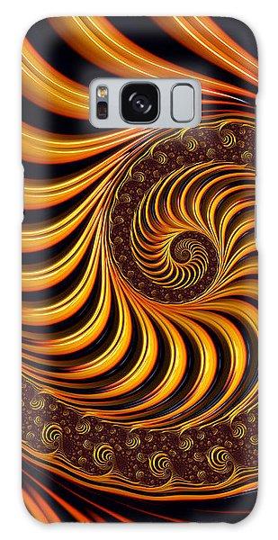 Galaxy Case featuring the digital art Beautiful Golden Fractal Spiral Artwork  by Matthias Hauser