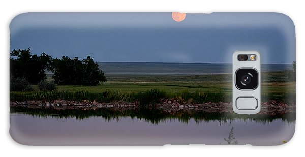 Beautiful Moon Over Kinney Lake Galaxy Case by Clarice  Lakota