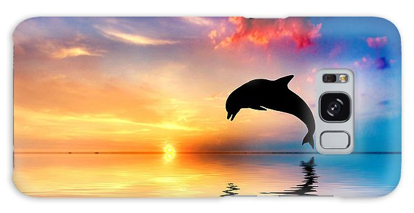 Beautiful Ocean And Sunset With Dolphin Jumping Galaxy Case