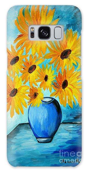 Beautiful Sunflowers In Blue Vase Galaxy Case by Ramona Matei
