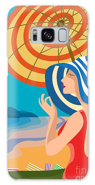 Young Galaxy Case - Beautiful Woman In A Wide-brimmed Hat by Sebos