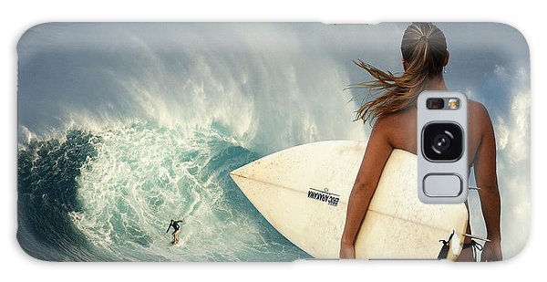 Surfer Girl Meets Jaws Galaxy Case by Bob Christopher