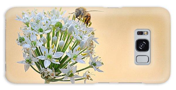 Bee In The Garlic Chives Galaxy Case by AJ  Schibig