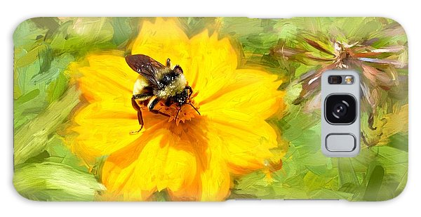 Bee On Flower Painting Galaxy Case by Ludwig Keck