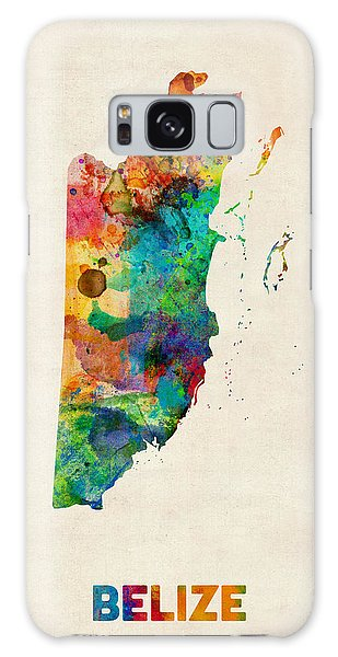 Belize Watercolor Map Galaxy Case