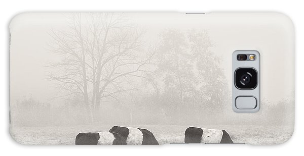 Belted Galloway Cows On Foggy Farm Field In Maine Galaxy Case