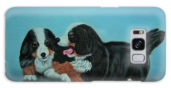 Bernese Mountain Puppies Galaxy Case by Thomas J Herring