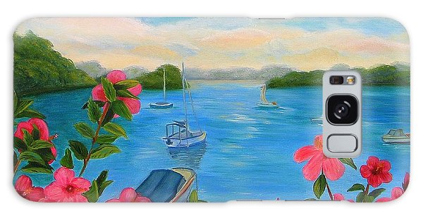 Bermuda Hibiscus - Bermuda Seascape With Boats And Hibiscus Galaxy Case
