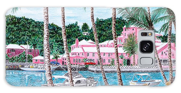 Bermuda Pink Hotel Galaxy Case by Val Miller