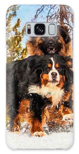 Bernese Mountain Dog And Leonberger Winter Fun Galaxy Case