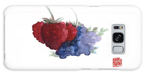 Berries Red Pink Black Blue Fruit Blueberry Blueberries Raspberry Raspberries Fruits Watercolors  Galaxy S8 Case