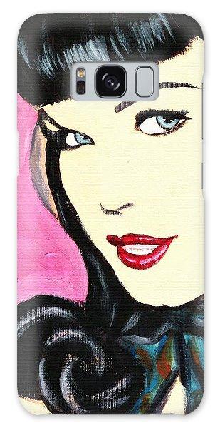 Bettie Page Pop Art Painting Galaxy Case by Bob Baker
