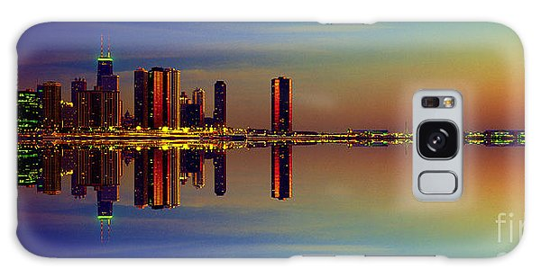Between Night And Day Chicago Skyline Mirrored Galaxy Case