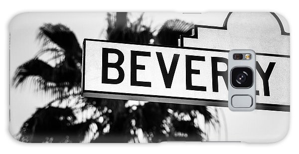 Beverly Boulevard Street Sign In Black An White Galaxy Case