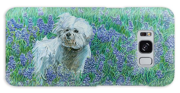 Galaxy Case featuring the drawing Bichon In The Bluebonnets by Dominic White