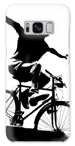 Bicycle - Black And White Pixels Galaxy Case