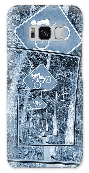 Bicycle Caution Traffic Sign Galaxy Case by Phil Perkins