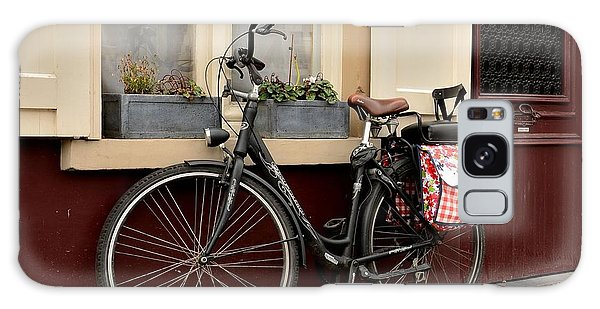 Bicycle With Baby Seat At Doorway Bruges Belgium Galaxy Case