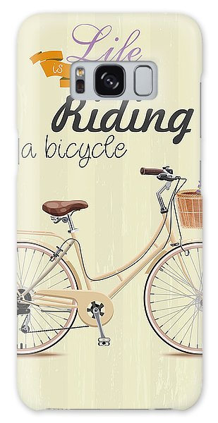 Old Road Galaxy Case - Bicycle With Lavender In Basket. Poster by Tatsiana Tsyhanova