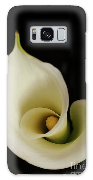Big Bold Calla Lily On Black Galaxy Case by Linda Matlow