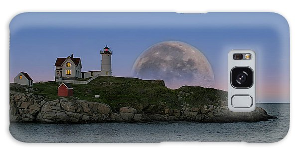 Big Moon Over Nubble Lighthouse Galaxy Case by Jeff Folger