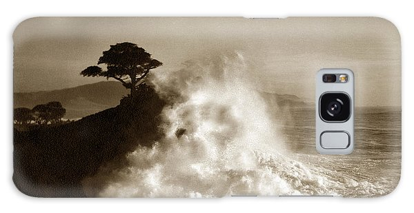 Big Wave Hitting The Lone Cypress Tree Pebble Beach California 1916 Galaxy Case by California Views Mr Pat Hathaway Archives