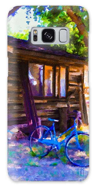 Bike At Hillside Cabin Galaxy Case