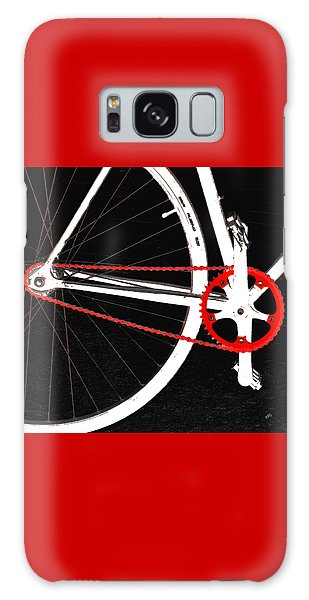 Bike In Black White And Red No 2 Galaxy Case by Ben and Raisa Gertsberg