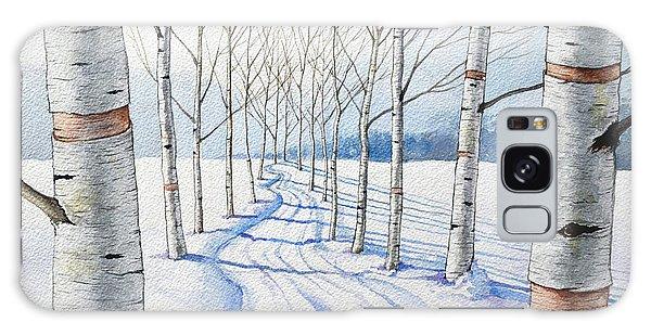 Birch Trees Along The Curvy Road Galaxy Case