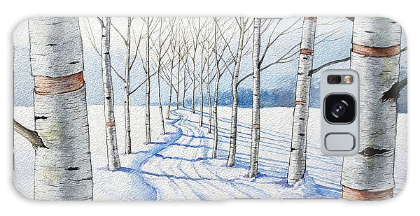 Birch Trees Along The Curvy Road Galaxy Case