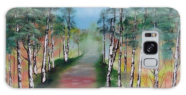 Birch Trees Along Winding Path Galaxy Case