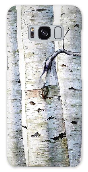 Birch Trees In Watercolor Galaxy Case