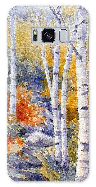 Birches Along The Trail Galaxy Case