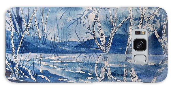 Birches In Blue Galaxy Case by Ellen Levinson
