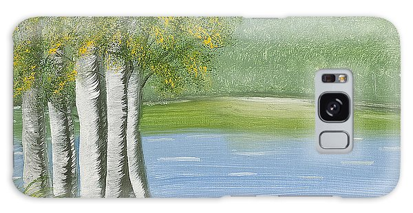 Birches By The Lake Galaxy Case