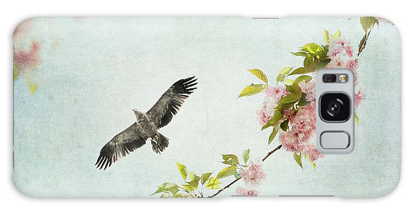 Bird And Pink And Green Flowering Branch On Blue Galaxy Case