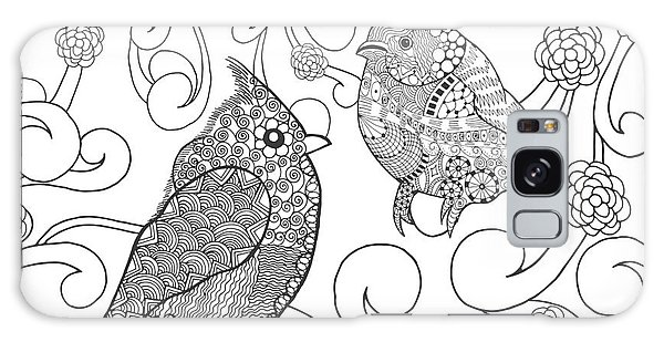 White Galaxy Case - Birds Coloring Page. Animals. Hand by Palomita