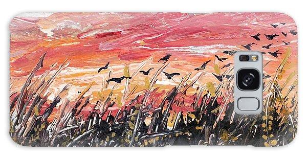 Birds In Wheatfield Galaxy Case
