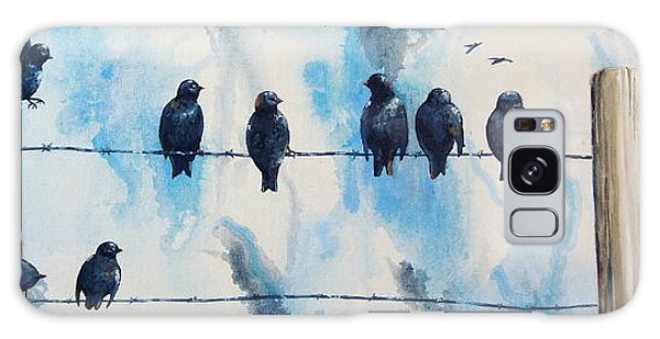 Birds On Barbed Wire Galaxy Case