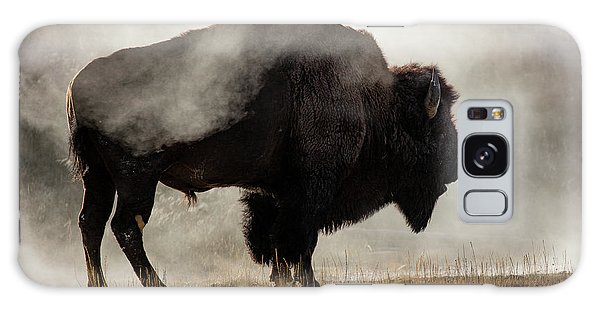 Wildlife Galaxy Case - Bison In Mist, Upper Geyser Basin by Adam Jones