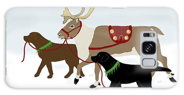Black And Chocolate Labs Lead Reindeer Galaxy Case