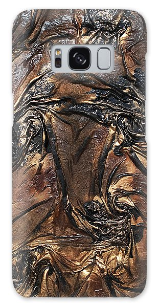 Black And Gold Flowers Galaxy Case by Angela Stout