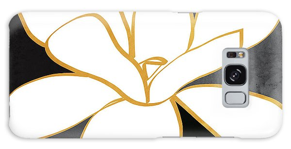 Gold Galaxy Case - Black And Gold Magnolia- Floral Art by Linda Woods