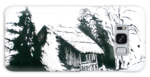 Black And White Barn In Snow Galaxy Case by Joyce Gebauer