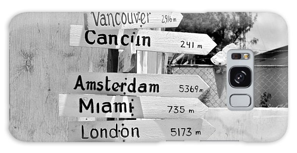 Black And White Directional Sign Galaxy Case