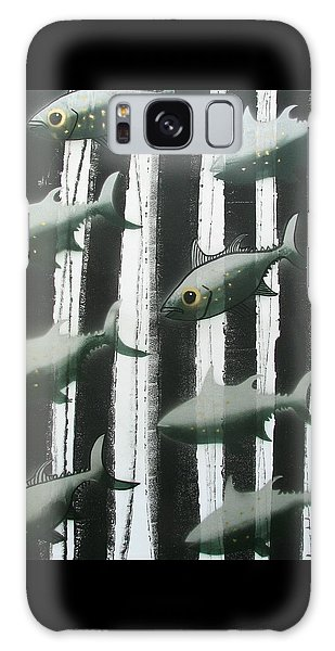 Galaxy Case - Black And White Fish by Joan Stratton