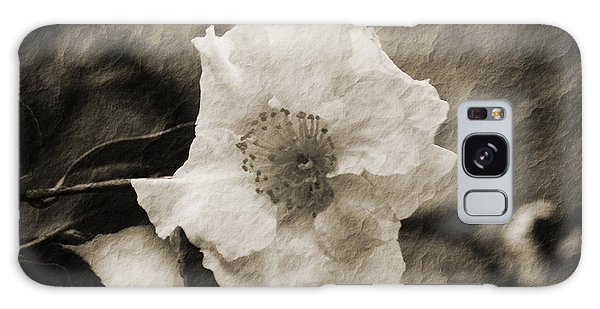 Black And White Flower With Texture Galaxy Case