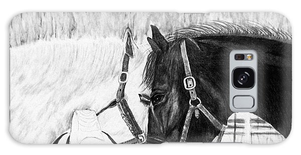 Black And White Horses Art Print Galaxy Case