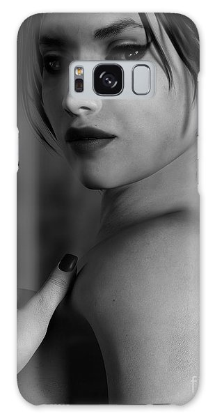 Black And White Woman Portrait Glamour Galaxy Case